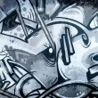 Cold Graffiti over old dirty wall, urban hip hop background Gray — Stock Photo #10417730