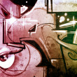 Hell background over old dirty wall, urban hip hop background Gr - 