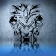 Stone gargoyle tattoo on blue wall reflections in the water - Stock Photo