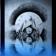 Demon head tattoo on blue wall reflections in the water — Stock Photo