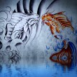Japanese carp tattoo on blue wall with water reflections - Photo