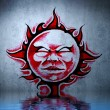 Royalty-Free Stock Photo: Tattoo red sun with water reflection. Illustration design over b