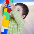 Education, cute little boy playing with blocks — Stock Photo