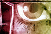 Eye over old dirty wall, urban hip hop background Gray texture p — Stock Photo
