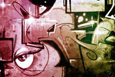 Hell background over old dirty wall, urban hip hop background Gr — Stock Photo