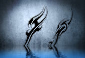 Black tribal armband with water reflection. Tattoo design over b — Stock Photo