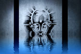 Warrior tattoo on blue wall with water reflections — Stock Photo