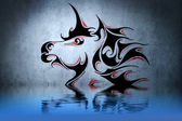 Tattoo unicorn with water reflection. Illustration design over b — Stock Photo