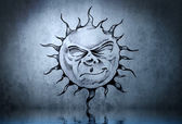 Tattoo cute sun with water reflection. Illustration design over — Stock Photo