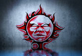 Tattoo red sun with water reflection. Illustration design over b — Stock Photo