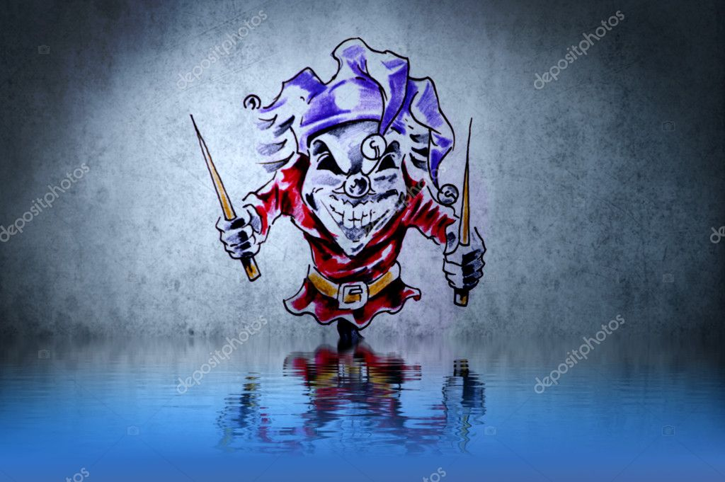 24 Fantasy Funny Clown Tattoo With Water Reflection Illustration D