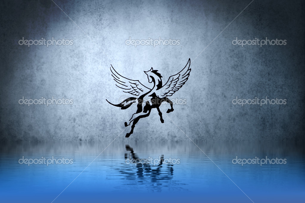 Tattoo Horse With Water Reflection Illustration Design Over Blue Wall