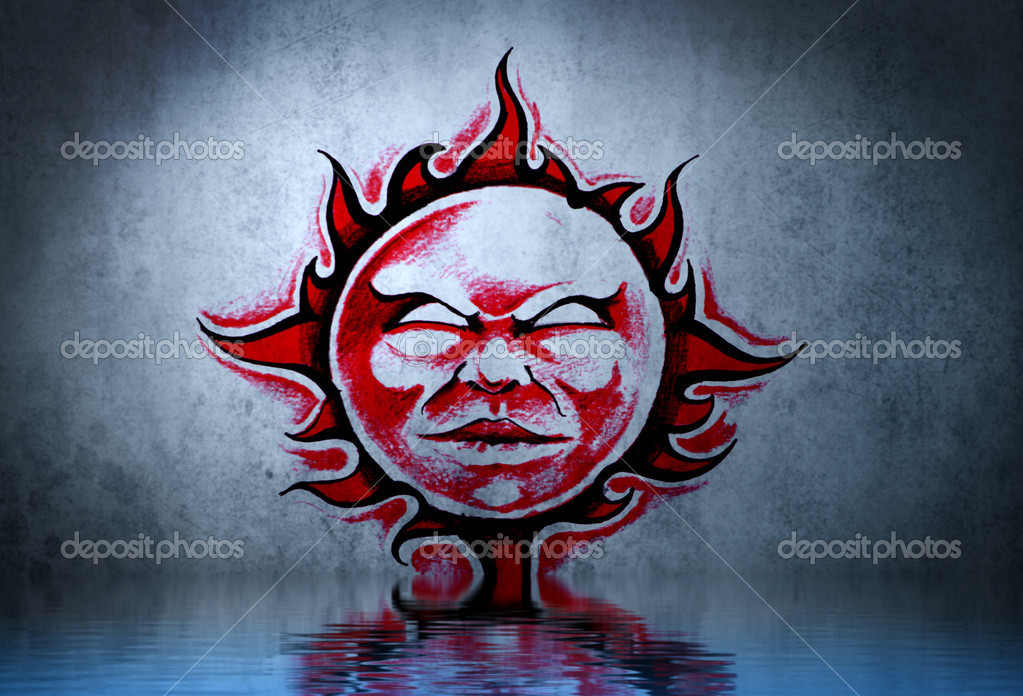 Tattoo Red Sun With Water Reflection Illustration Design Over Blue