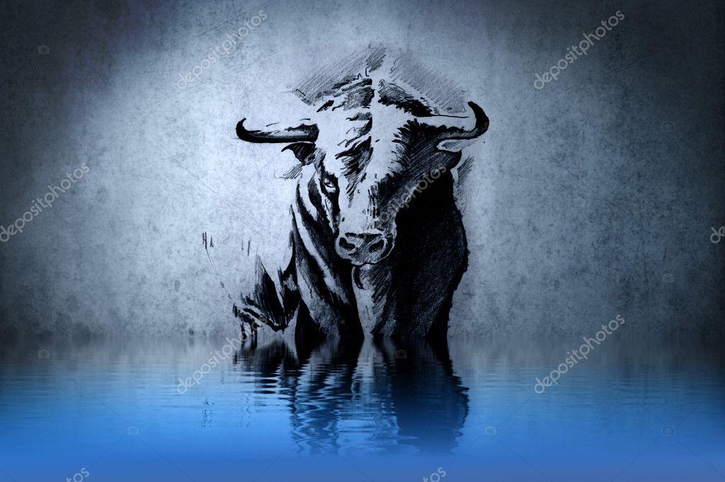 Spanish Bull Spanish Bull Tattoo on Blue