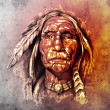 Sketch of tattoo art, portrait of american indian head - Stock Photo