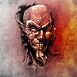 Sketch of tattoo art, devil head with piercing — Stock Photo