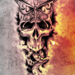 Sketch of tattoo art, skull, death concept illustration - Stock Photo