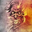 Sketch of tattoo art, smilling skull and clown — Stock Photo