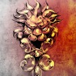 Sketch of tattoo art, gargoyle lion illustration - Stock Photo