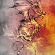 Sketch of tattoo art, classic dragon illustration — Stock Photo #10685744