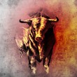 Sketch of tattoo art, spanish bull, dangerous bull with beaked h — 图库照片