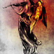 Sketch of tattoo art, music angel with violin — Stock Photo #10686149