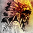 Sketch of tattoo art, indian head, chief, vintage style — Stock Photo #10686175
