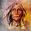 Sketch of tattoo art, portrait of american indian head over colo — Stock Photo #10686288