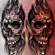 Sketch of tattoo art, skull head illustration, over colorful pap — Stock fotografie