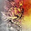 Sketch of tattoo art, stylish dragon illustration over colorful — Stock Photo #10686439