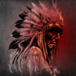 Tattoo art, portrait of american indian head over dark backgroun - 图库照片