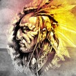 Sketch of tattoo art, indian head over cropfield background — Stock Photo