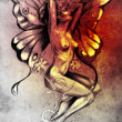 Nude fairy. Fantasy sketch of tattoo art, naked woman figure - Stock Photo