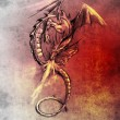 Fantasy dragon. Sketch of tattoo art, medieval monster — Stock Photo