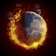 Global warming concept. Planet Earth burning, fire — Stock Photo