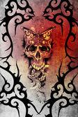 Tattoo kunst design, dood versierd met tribal formulieren — Stockfoto