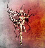Sketch of tattoo art, fairy butterfly — Stock Photo