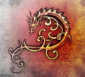 タトゥー アート、装飾的なドラゴンのスケッチ — ストック写真