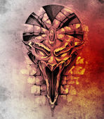 Sketch of tattoo art, rock gargoyle mask — ストック写真