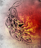 Sketch of tatto art, decorative medieval dragon — Stock Photo