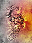 Sketch of tattoo art, smilling skull and clown — Stockfoto