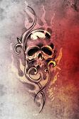 Boceto del arte del tatuaje, diablo calavera, decorativo illustrati vintage — Foto de Stock