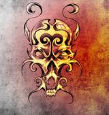 Skiss av tatuering konst, monster mask med dekorativa element — Stockfoto