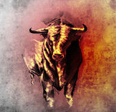 Sketch of tattoo art, spanish bull, dangerous bull with beaked h — Stok fotoğraf