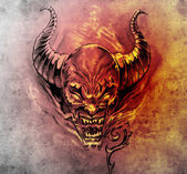 Tattoo art, sketch of a devil with big horns — Stock Photo