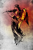 Sketch of tattoo art, music angel with violin — Stock Photo
