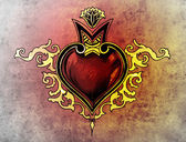 Valentine Day. Sketch of tattoo art, tribal design, heart — Stock Photo
