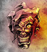 Fantasy clown joker. Sketch of tattoo art over dirty background — Stock Photo