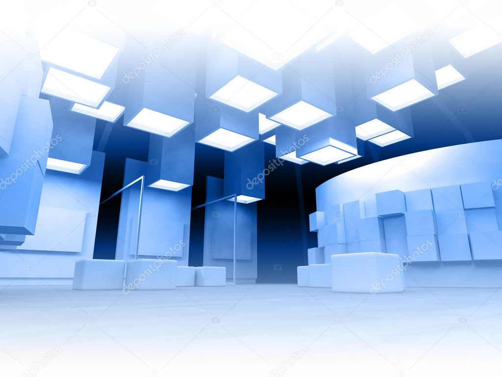 Art gallery with blank frames, modern building, conceptual architecture — Stock Photo #10683606