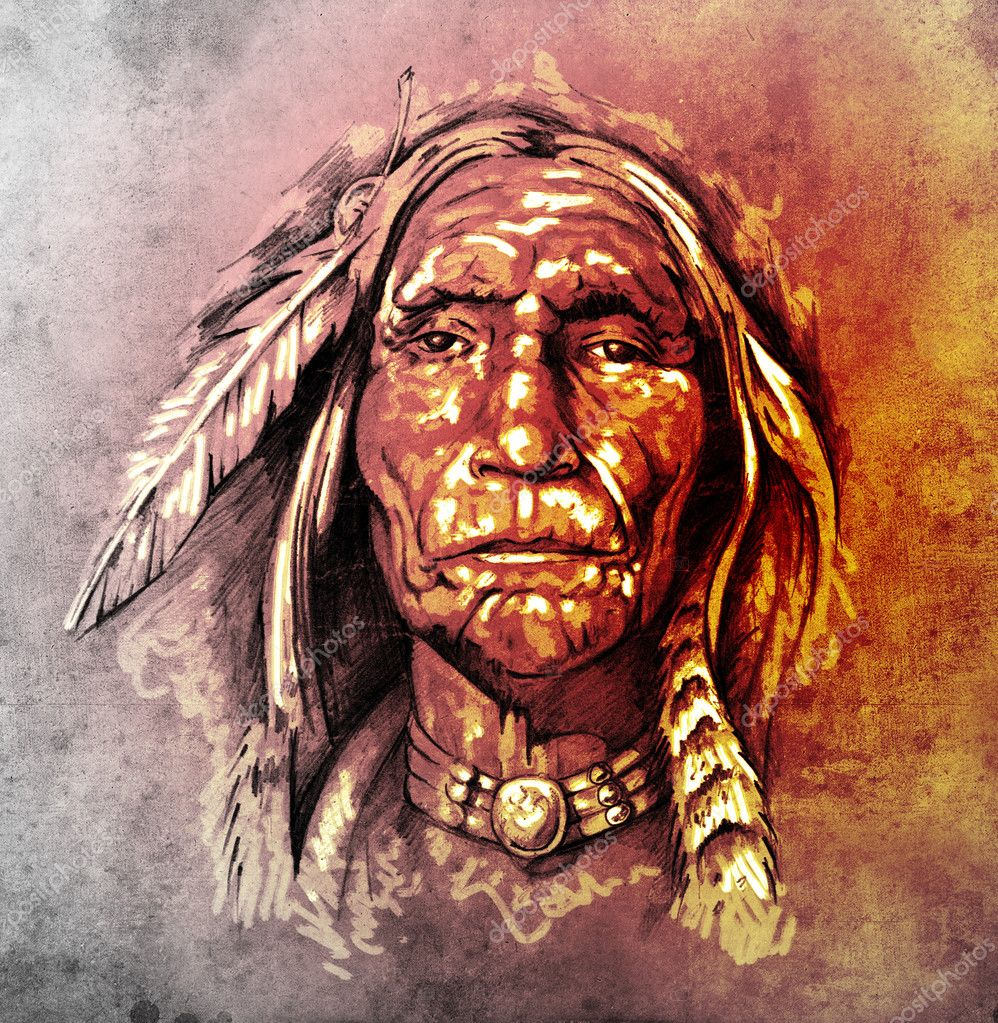Sketch of tattoo art, portrait of american indian head - Stock Image